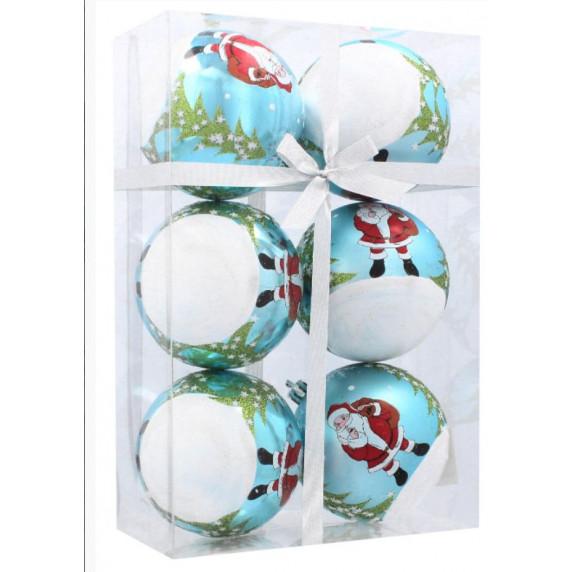 Inlea4Fun Vianočné gule 6 kusov 8cm - Biele-Modré/Mikuláš