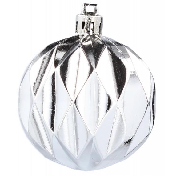 Inlea4Fun Vianočné gule 9 kusov 6 cm - strieborné