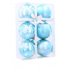 Vianočné gule 6 kusov 7 cm Inlea4Fun - Modré/Sob Preview