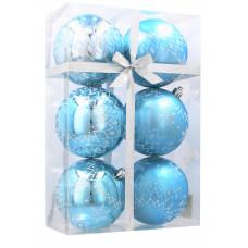 Vianočné gule 6 kusov 8cm Inlea4Fun - Biele-Modré/Snehová vločka Preview