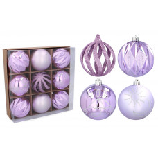 Vianočné gule 9 kusov 8 cm Inlea4Fun - fialové Preview