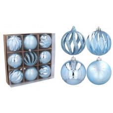 Vianočné gule 9 kusov 8 cm Inlea4Fun - modré Preview