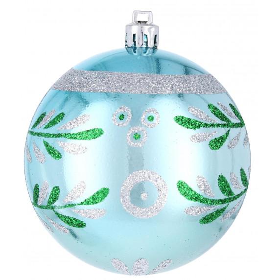 Inlea4Fun Vianočné gule 6 kusov 8cm - Modré/Vianočná vetva