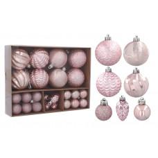Vianočná sada 36 kusov 3 / 4 / 6 cm Inlea4Fun - ružová Preview