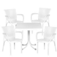 Set záhradnej zostavy so 4 stoličkami InGarden - Biela