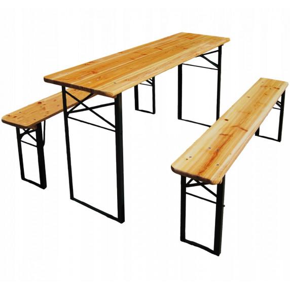 InGarden Skladací turistický stôl 177 x 46 x 77 cm + 2 lavice 177 x 23 x 47 cm