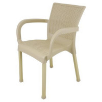 Ratanová záhradná stolička InGarden 60 x 60 x 82 cm - Cappuccino