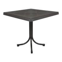 Ratanový záhradný stôl InGarden 80x80x73 cm 6437 - Hnedý