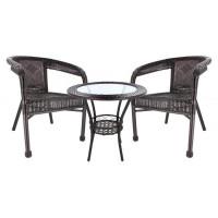 InGarden záhradná zostava BISTRO LUX stôl + 2 stoličky tmavohnedá
