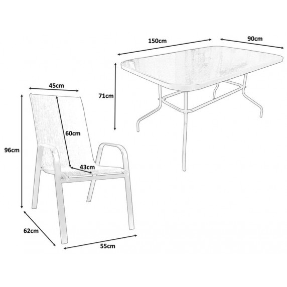 Záhradný stôl so stoličkami GARDEN LINE