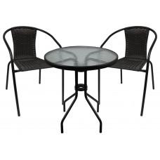 InGarden záhradná zostava BISTRO stôl + 2 stoličky tmavohnedá Preview