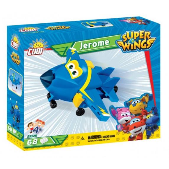 COBI 25129 SUPER WINGS Stíhačka Jerome mini modré lietadlo 68 ks