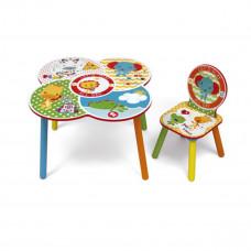 Detský farebný stôl so stoličkou Fisher Price + zabudovaný košík Preview