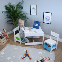 Detský stolík so stoličkami Ourbaby + úložné boxy modro-zelené