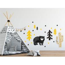 Dekorácia na stenu DEKORNIK Medveď v lese žlto-čierny Preview
