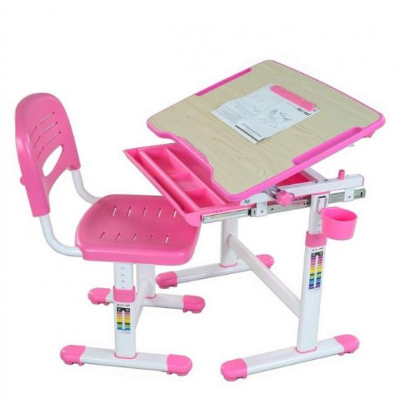 FUN DESK Bambino Detský písací stôl so stoličkou s regulovateľnou výškou - ružový