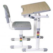 FUN DESK Piccolino ll Detský písací stôl so stoličkou s regulovateľnou výškou - sivý Preview