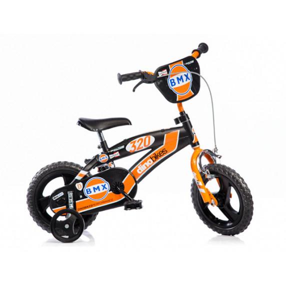 "Bicykel 12"" DINO BMX - čierny/oranžový"