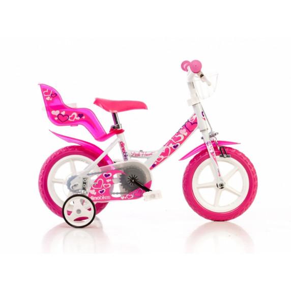 """Bicykel 12"""" DINO BIKES - bielo/ružový"""