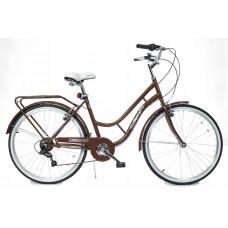 """Hellobikes RETRO 7 Speed 26"""" dámsky mestský bicykel 2019 - Hnedý Preview"""
