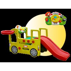 Inlea4Fun detské ihrisko v tvare autobusu so šmykľavkou Preview