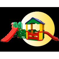 Inlea4Fun Mega detské ihrisko so šmykľavkami a domčekom