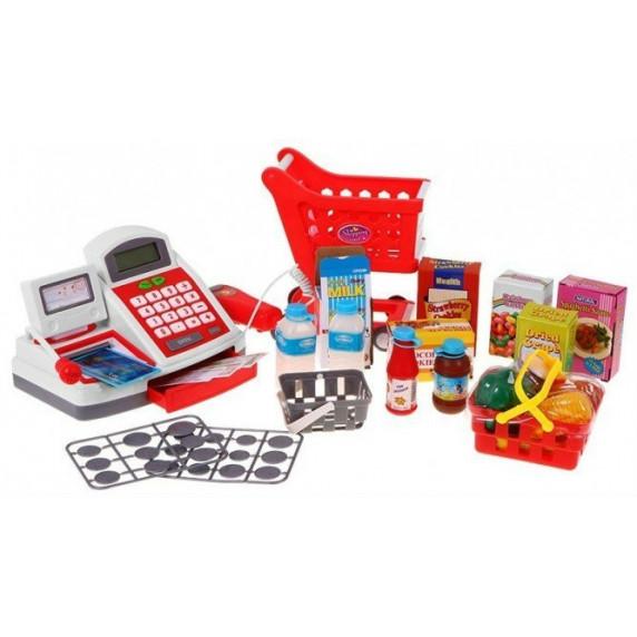 Inlea4Fun Cash Shop Nákupný košík s pokladňou - červený
