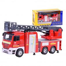 Inlea4Fun CAST MODEL hasičské auto s výsuvným rebríkom + zvukové a svetelné efekty Preview