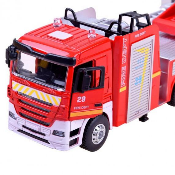 Inlea4Fun CAST MODEL hasičské auto s výsuvným rebríkom + zvukové a svetelné efekty