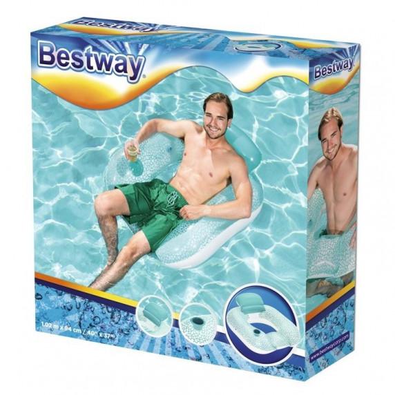 Bestway 43097 Nafukovacie plávacie kreslo 102 x 94 cm - tyrkysové