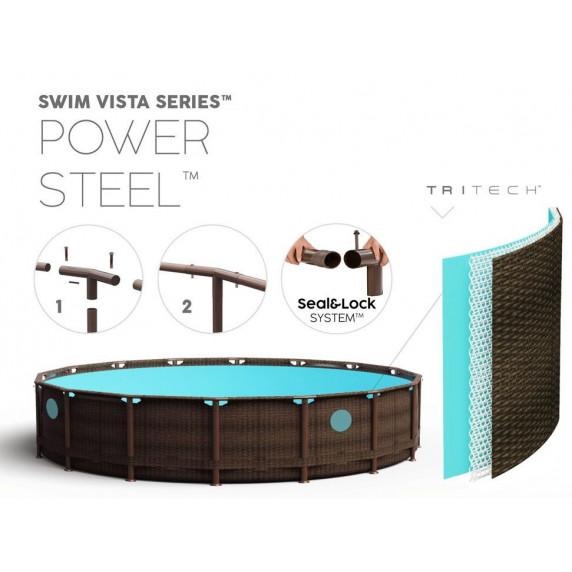 Bazén Rattan BESTWAY 56977 Power Steel 549 x 122 cm + kartušová filtrácia 56977