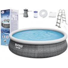 Mäkkostenný bazén BESTWAY 57372 Fast Set 457x107 cm s vodným obehovým papierovým filtrom Preview
