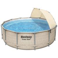 Bazén s ratanovo kovovým rámom, papierovým filtrom na cirkuláciu vody BESTWAY 5614V Power Steel 396x107 cm