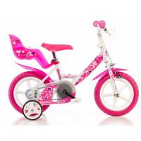 """Detský bicykel DINO 12"""" - bielo/ružový 2019"""