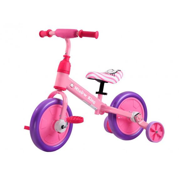 Inlea4Fun Detské cykloodrážadlo 3 v 1 - ružové