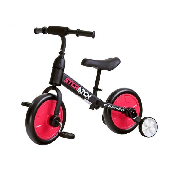 Inlea4Fun Detské cykloodrážadlo 3 v 1 Stcratck - červené