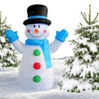 Inlea4Fun nafukovací svietiaci snehuliak 120 cm