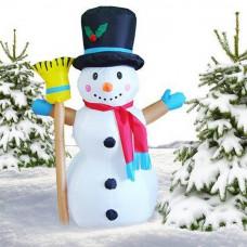 Inlea4Fun nafukovací svietiaci snehuliak s metlou 120 cm Preview