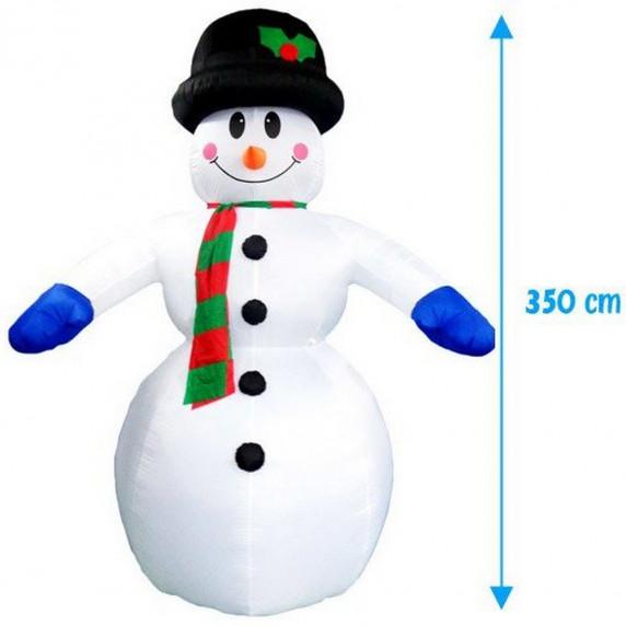Inlea4Fun nafukovací svietiaci snehuliak - 350 cm