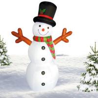 Inlea4Fun nafukovací svietiaci snehuliak 180 cm - červený