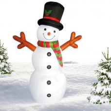 Inlea4Fun nafukovací svietiaci snehuliak 180 cm - červený Preview