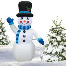 Inlea4Fun nafukovací svietiaci snehuliak 180 cm - modrý Preview