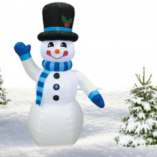Inlea4Fun nafukovací svietiaci snehuliak 240 cm - modrý Preview