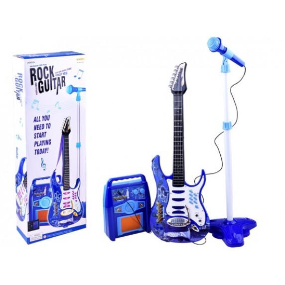 Inlea4Fun Elektrická gitara s mikrofónom a zosilňovačom - modrá