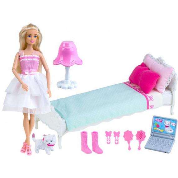 Bábika s posteľou a príslušenstvom Inlea4Fun ANLILY DREAM BEDROOM