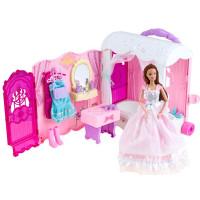 Rozkladací domček na kolieskach s bábikou Inlea4Fun Anlily DREAM BEDROOM
