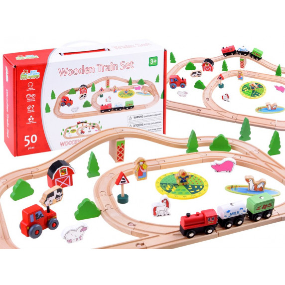 Inlea4Fun KIDS TOYLAND Drevená vlaková trať s doplnkami Farma 50 kusov