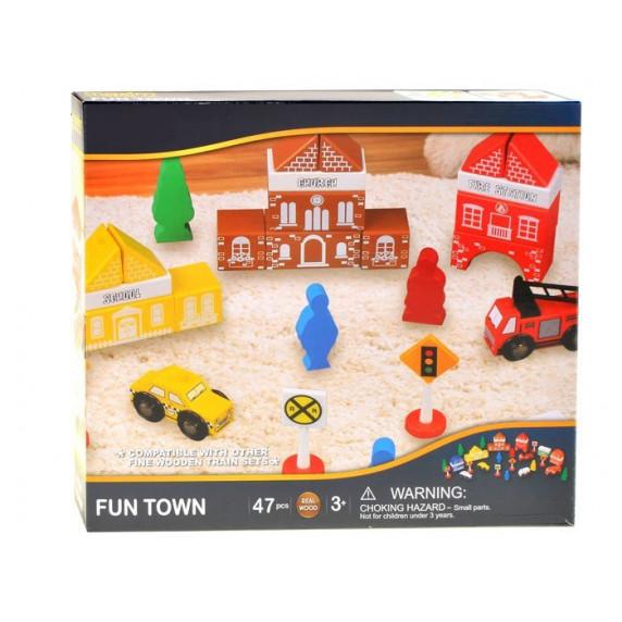 Inlea4Fun FUN TOWN drevené farebné tvary Mesto - hasičská stanica 47 kusov