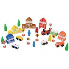 Inlea4Fun FUN TOWN drevené farebné tvary Mesto - hasičská stanica 47 kusov Preview