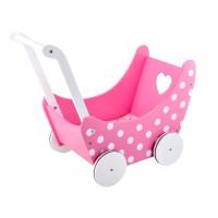 Inlea4Fun PINK DOLL'S PRAM Drevený kočík pre bábiky